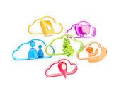 Cloud technologie mobilních aplikací ikony