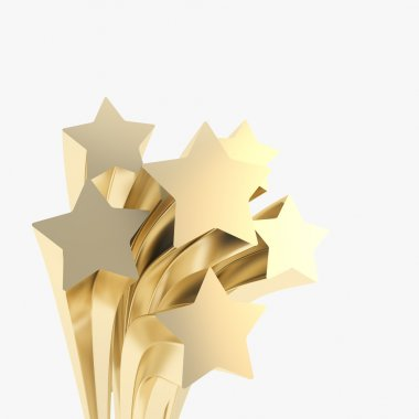 Extruded golden stars on as festive background