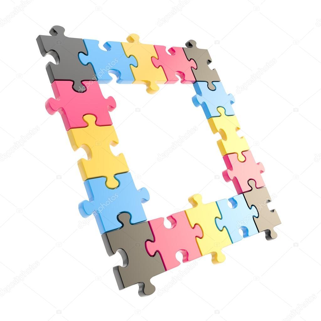 copyspace cornice puzzle fatto di pezzi di puzzle foto