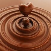 Fotografia simbolo cuore composto liquido al cioccolato