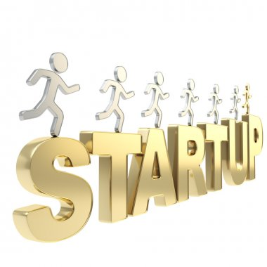 Human running symbolic figures over the word Startup