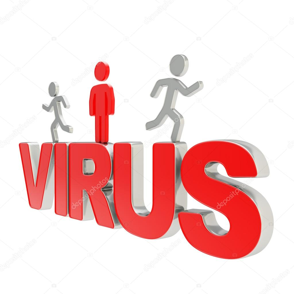 Viral Word: Human Running Symbolic Figures Over The Word Virus