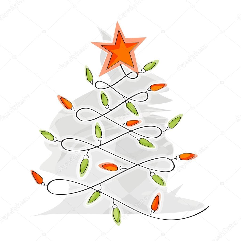 hergestellt aus Glühbirne Draht Weihnachtsbaum — Stockfoto © tikir1 ...