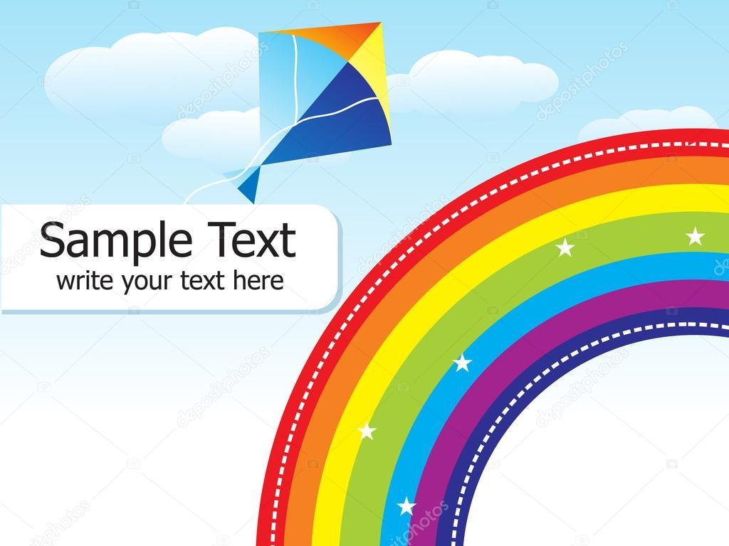 arco iris colorido abstractos con plantilla de cometa — Archivo ...