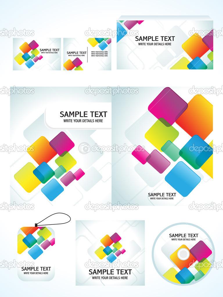 plantilla de identificación de negocio abstracto colorido arco iris ...