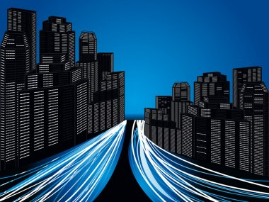 abstract futuristic city with trafic