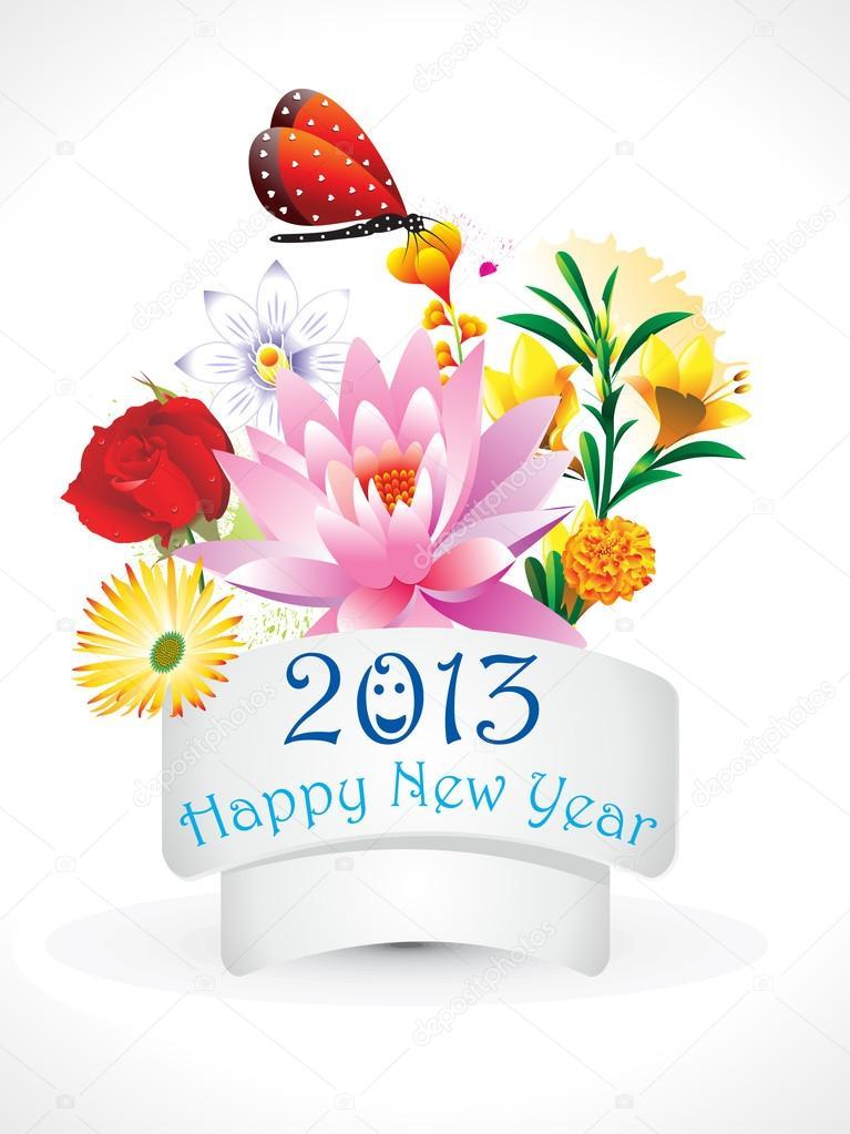 abstract new year flower set — Stock Vector © rioillustrator #23871537