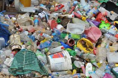 Plastic garbage in a landfill