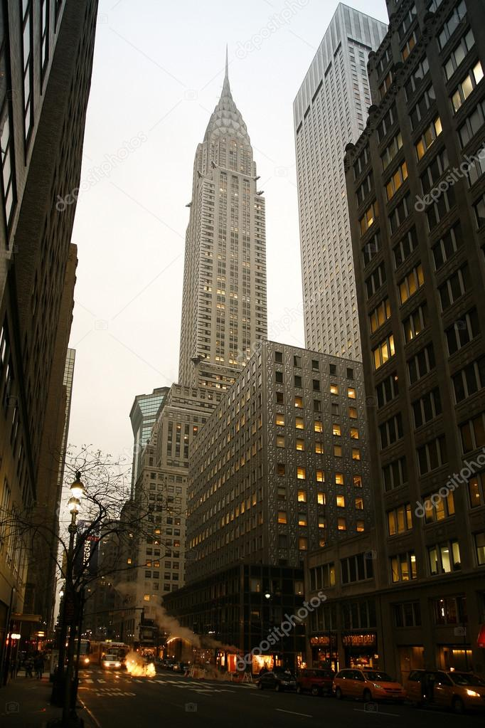 New York City Manhattan street view with Chrysler Building Stock
