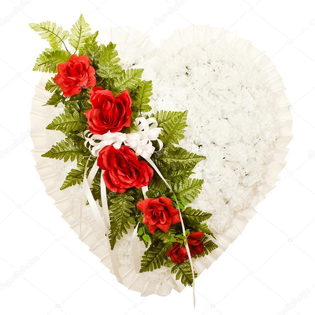 Silk funeral flower arrangement in broken heart design stock photo silk funeral flower arrangement in broken heart design stock photo izmirmasajfo