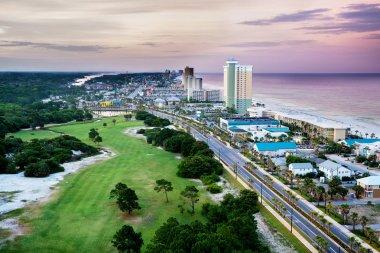 Panama City Beach, Florida, view of Front Beach Road at sunrise