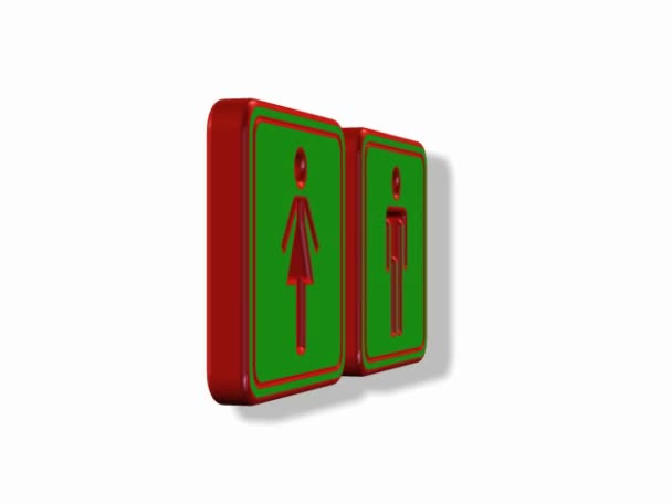 Toilets Sign green rotating