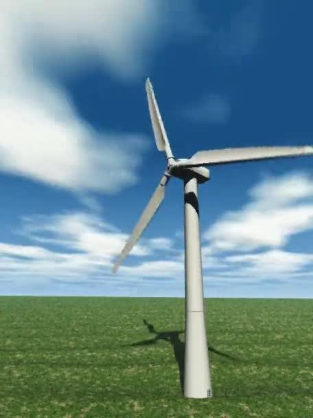 Větrná turbína na modré obloze