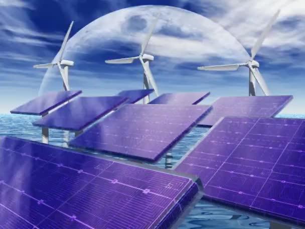 solární panely a větrné mlýny