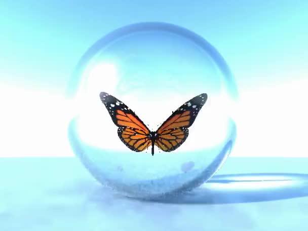 motýl monarcha letu ve skleněné kouli