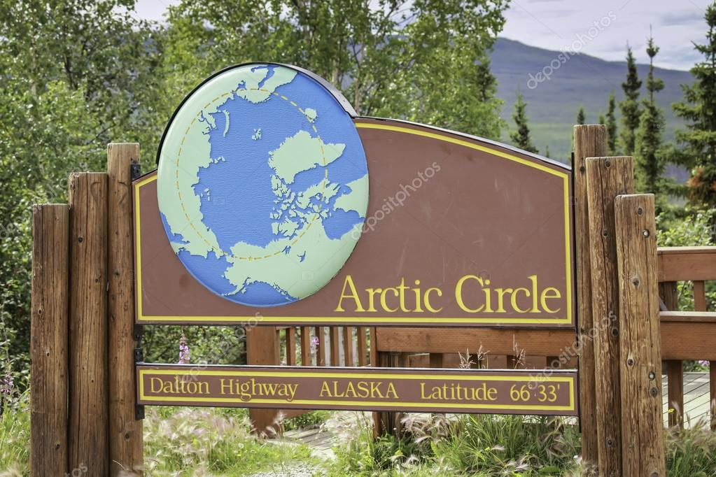 Polarkreis Alaska Karte.Polarkreis Straßenschild In Alaska Stockfoto Marchello74 27544371