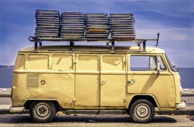 Vintage van in the beach of Ipanema