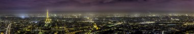 Paris aerial panorama view at night