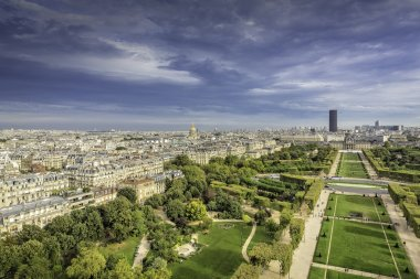 Aerial View on Champ de Mars and Invalides in Paris, France