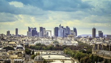 View of business district La Defence in Paris