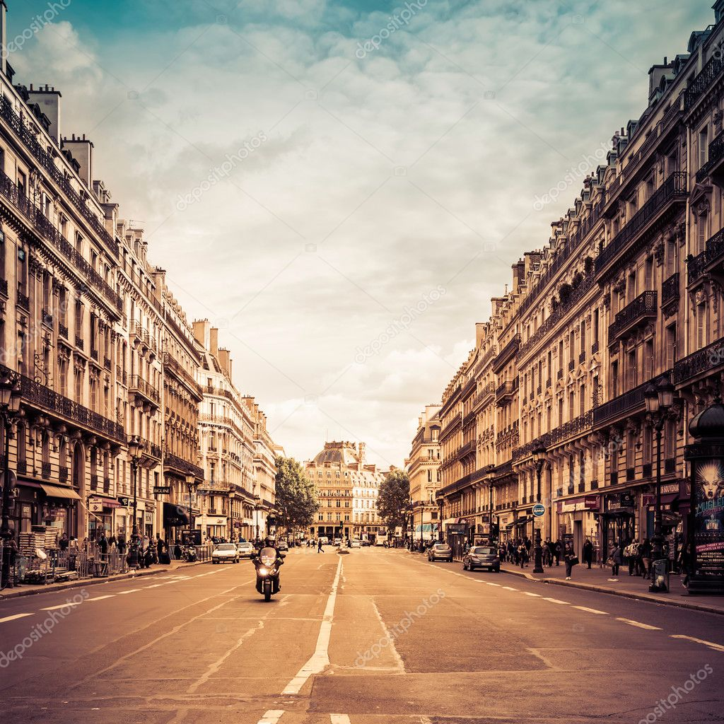 Typical street near Opera in Paris, France.