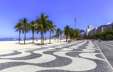 Copacabana beach with palms and sidewalk in Rio de Janeiro, Brazil stock vector