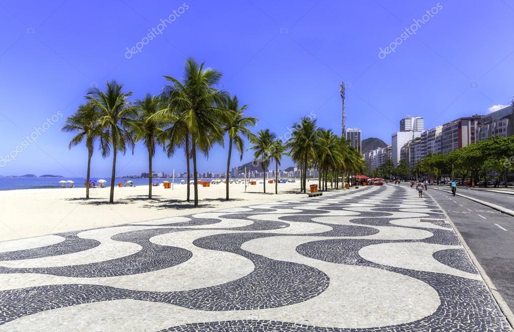 Фотообои Copacabana beach with palms and sidewalk in Rio de Janeiro, Brazil