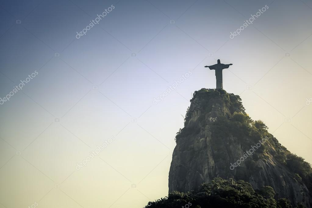 Christ the Redeemer silhouette in Rio de Janeiro, Brazil