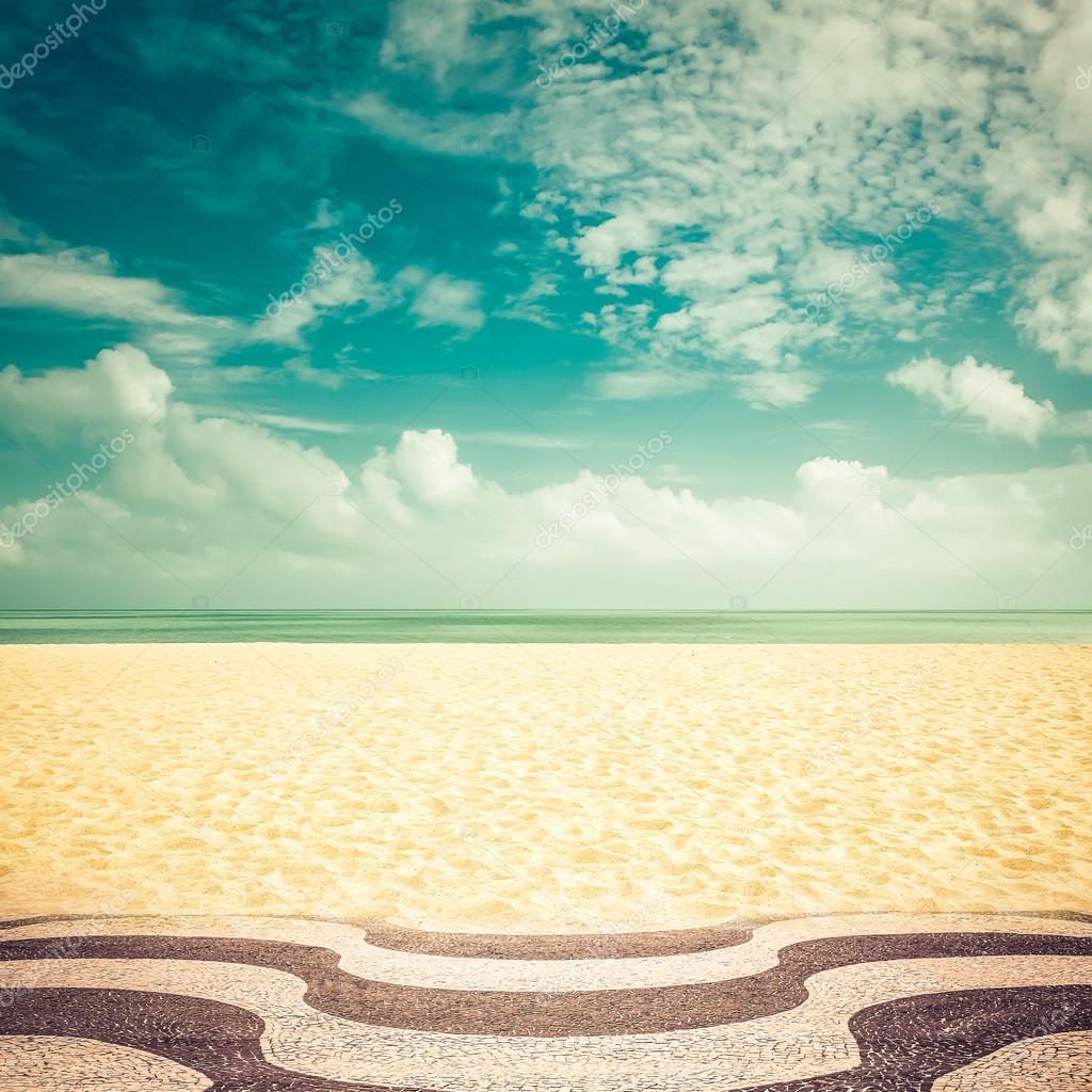 Sunshine on empty Copacabana Beach, Rio de Janeiro - vintage look