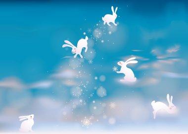 Adorable Bunnies make snowflakes on the sky