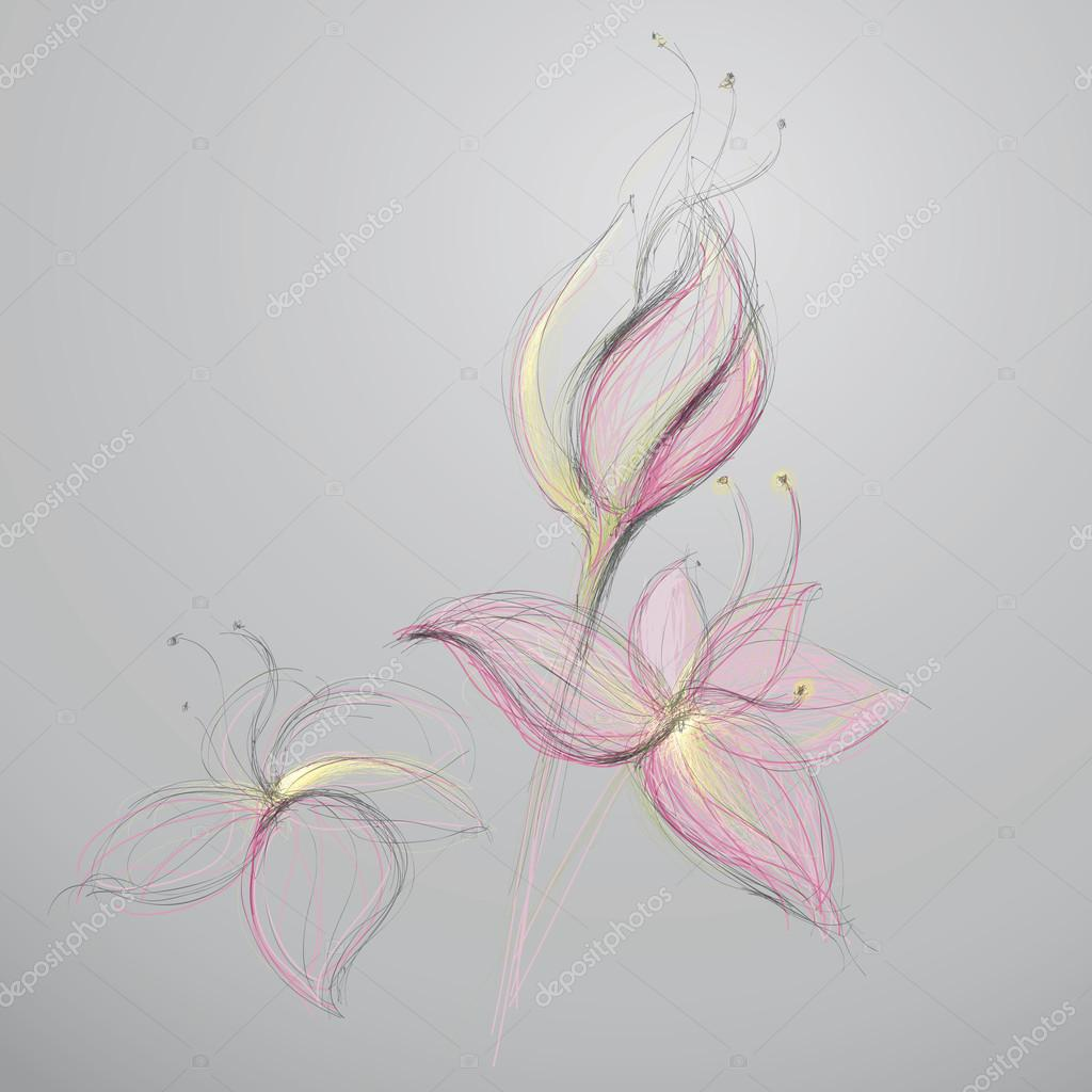 Abstract drawn flowers