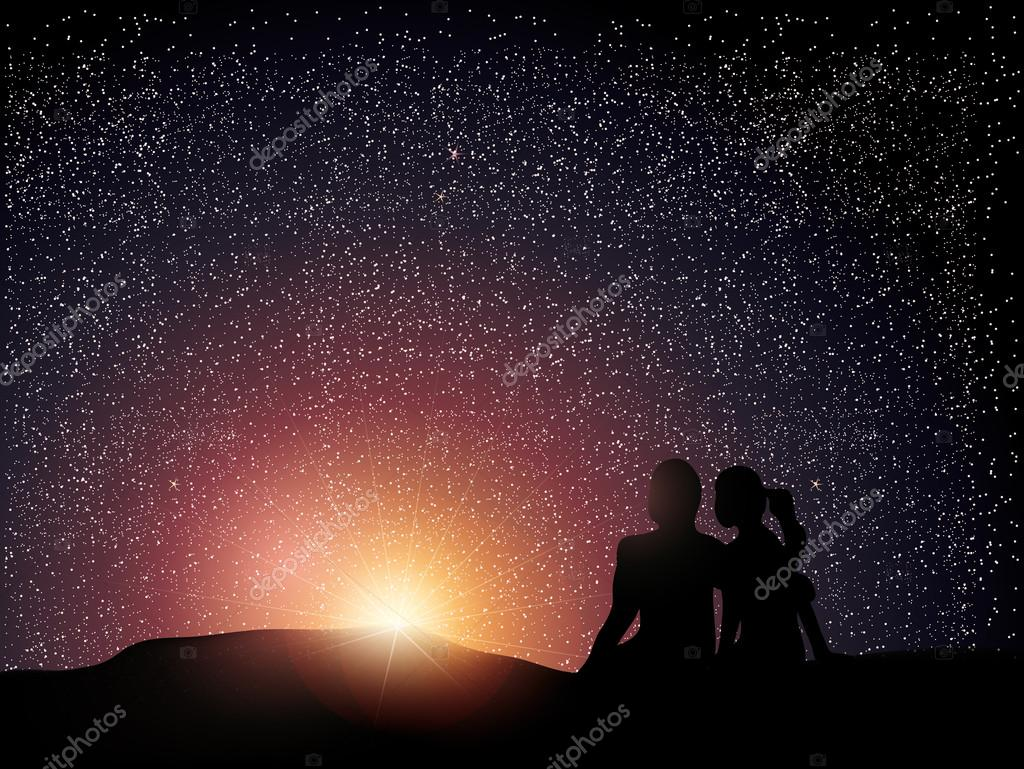 Couple watching the sunrise