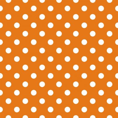 Seamless vector pattern with polka dots on autumn orange background
