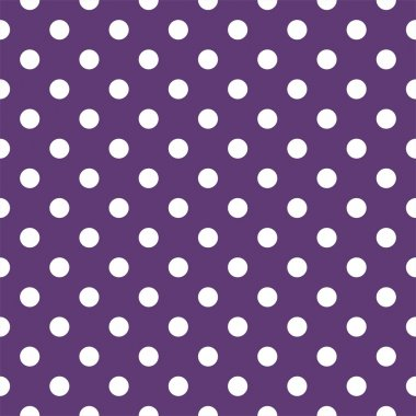 Vector seamless pattern with white polka dots on a dark violet background