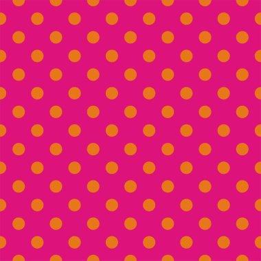 Orange dots, neon pink background pop art seamless vector pattern