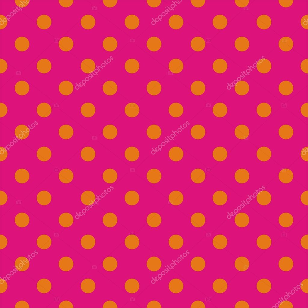 Orange dots, neon pink background pop art seamless vector pattern