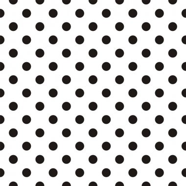 Black polka dots on white background retro seamless vector pattern