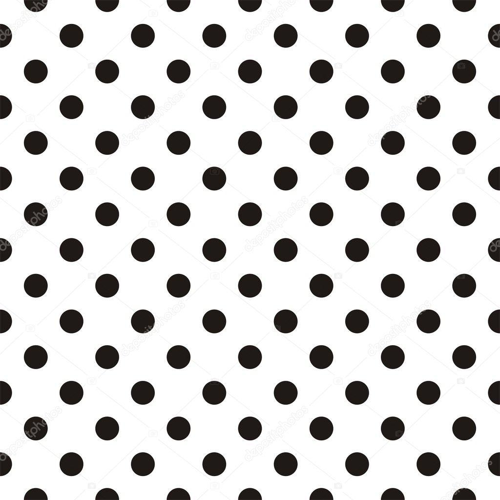 black polka dots on white background retro seamless vector pattern