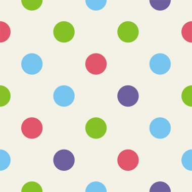 Seamless vector pattern, texture or background with big colorful polka dots on beige