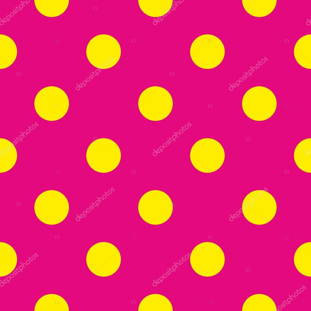 Seamless Vector Pattern With Neon Yellow Polka Dots On