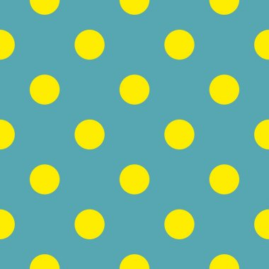 Seamless vector pattern with neon yellow polka dots on blue background