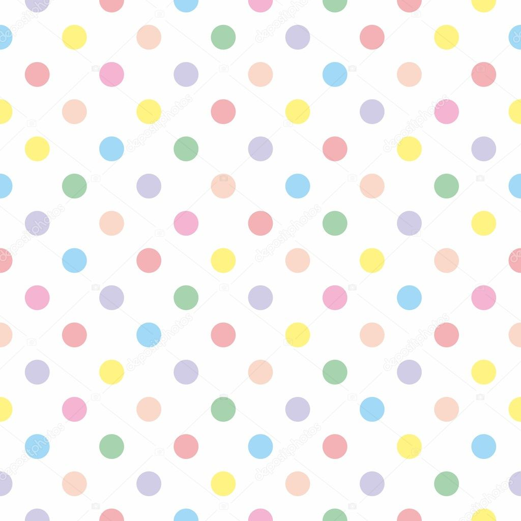 Seamless vector pattern texture with colorful polka dots on white background
