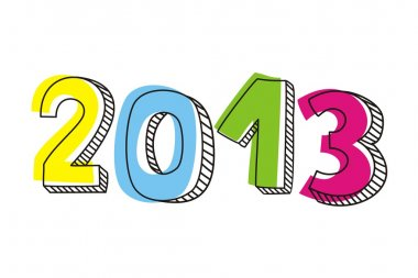 New Year 2013 hand drawn vector doodle sign or number symbol with colorful highlighter