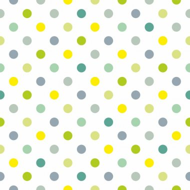 Seamless spring pattern or texture with colorful polka dots on white background