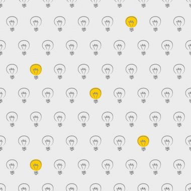 Light bulb seamless vector background, grey pattern or texture