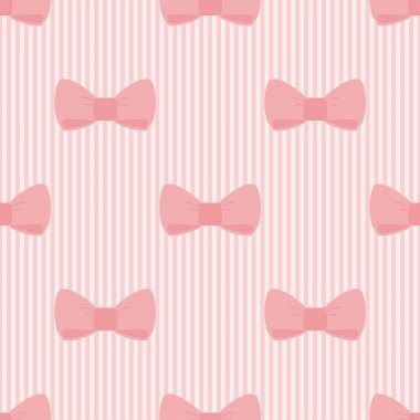 Seamless vector pattern with sweet bows on a pastel pink strips background.