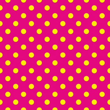 Seamless vector pattern or texture with yellow polka dots on neon pink background. For cards, invitations, websites, desktop, baby shower card background, party, web design, arts and scrapbooks.
