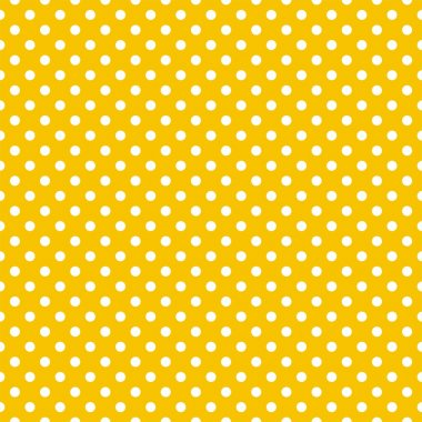 Seamless vector pattern with small white polka dots on a sunny yellow background.