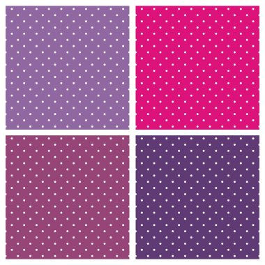 Set of sweet vector seamless patterns or textures with white polka dots on pastel, colorful pink, purple and violet background