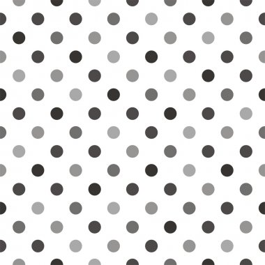 Seamless vector pattern or texture with dark grey and black polka dots on white background for blog, web design, scrapbooks.